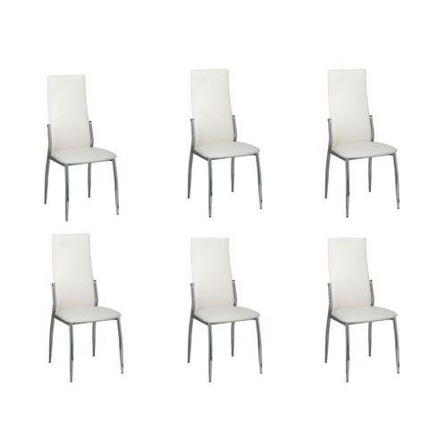 Vidaxl Krzesła jadalniane, białe z chromowaną ramą x6