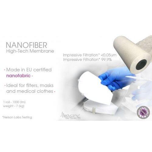 Unikalna Specjalistyczna nanowłóknina medyczna do produkcji filtrów, maseczek, medycznej odzieży ochronnej 1000mb Tkanina medyczna z filtracją na bakteriofagi 0,03um NANOTECHNOLOGIA, 180