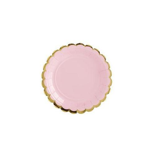 Party deco Talerzyki różowe ze złotymi brzegami - 18 cm - 6 szt. (5902230768925)