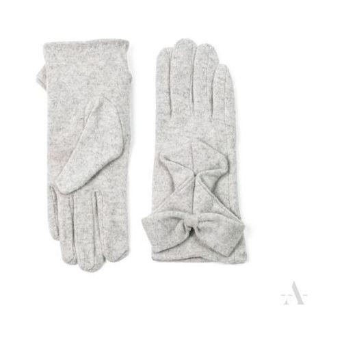Wełniane rękawiczki damskie z kokardą jasny popiel - popielaty