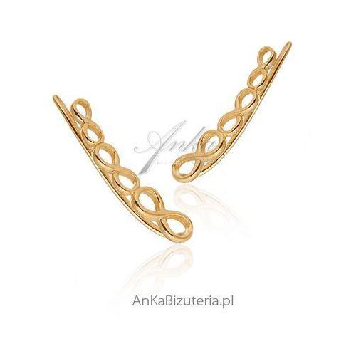 Kolczyki srebrne - Modna biżuteria nausznice pozłacane - Nausznice, kolor szary