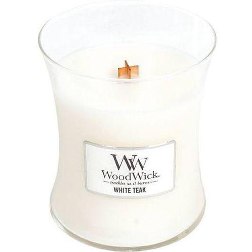 Woodwick Świeca core white teak średnia