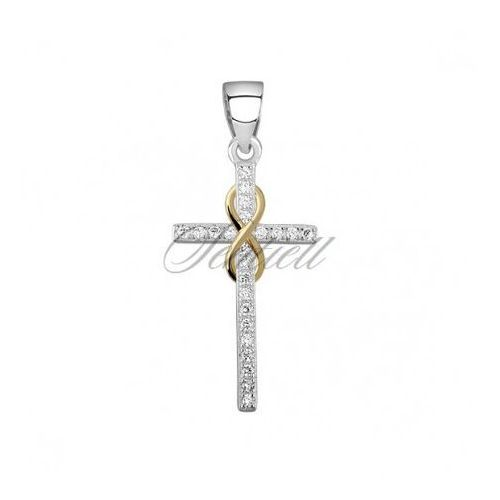 Sentiell Silver (925) pendant cross with zirconia and gold-plated infinity sign - z1543c_g