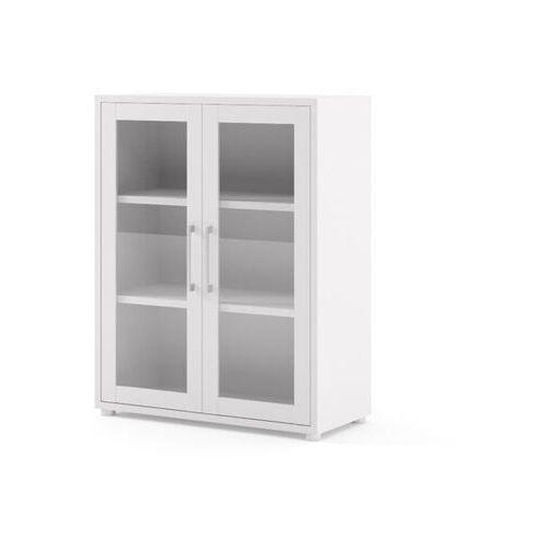 Prima regał niski z drzwiami szklanymi biały marki Tvilum