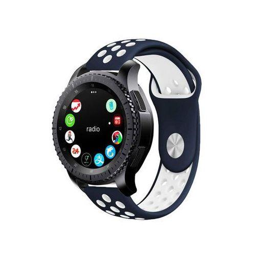 Sportowy pasek soft band Samsung Gear S3 / watch 46mm granatowo-biały - Biały   Granatowy