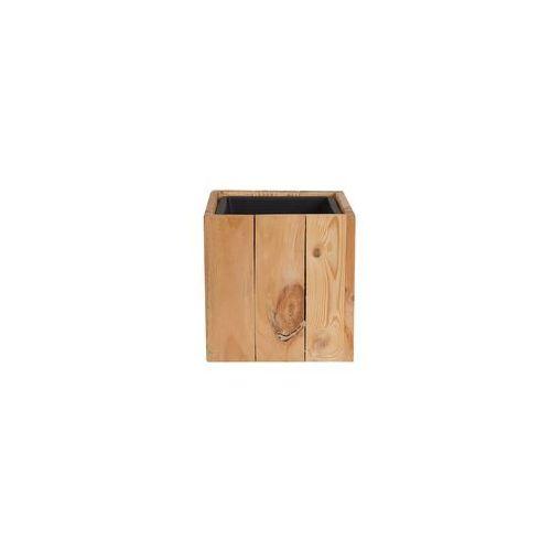 Doniczka drewniana jasny brąz kwadratowa 24 x 24 x 24 cm AKRINI