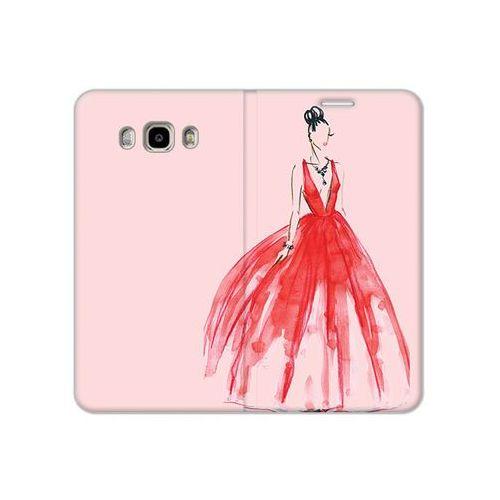 Samsung Galaxy J7 (2016) - etui na telefon Flex Book Fantastic - czerwona suknia, kolor czerwony