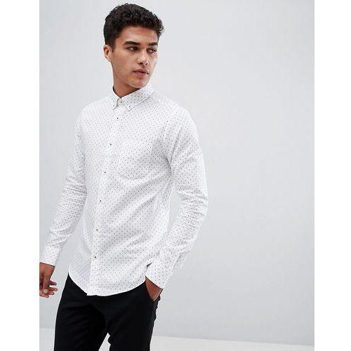 Burton Menswear long sleeve oxford shirt in white polka dot - White, kolor biały