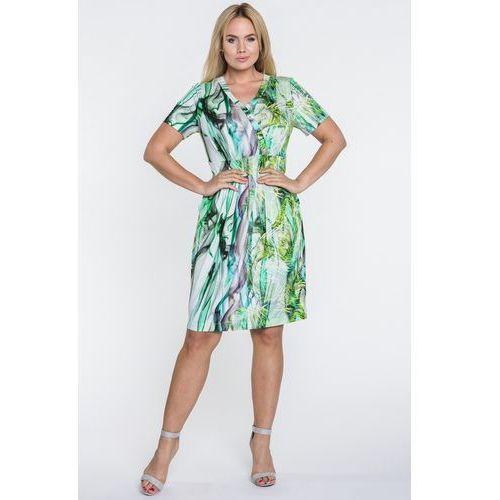 Sukienka w abstrakcyjne zielone wzory - Potis & Verso