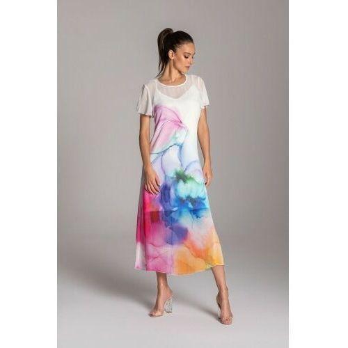 Długa letnia sukienka trapezowa kolorowa z szyfonu z krótkim rękawem typu motylek – KOLEKCJA NIEBIESKIE KWIATY, 08E7-64378