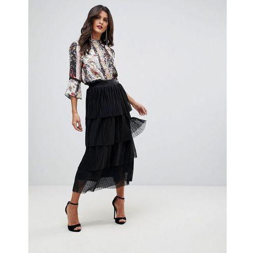 ruffle lace midi skirt - black, Morgan