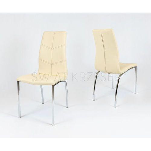 Sk design  ks010 kremowe krzesło z ekoskóry stelaż chrom ciemne p - ciemnokremowy