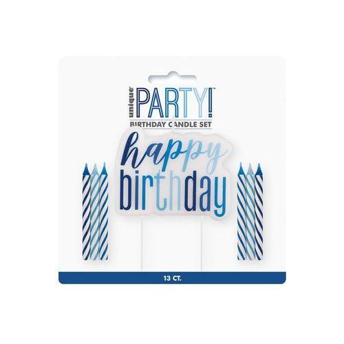 Zestaw świeczek happy birthday niebieski - 1 szt. marki Unique