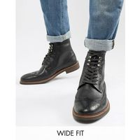 Dune wide fit brogue boots in black leather - black
