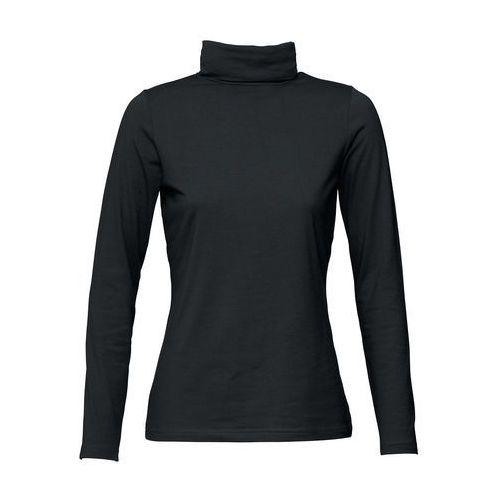 Shirt ze stretchem i golfem, długi rękaw bonprix czarny, w 8 rozmiarach