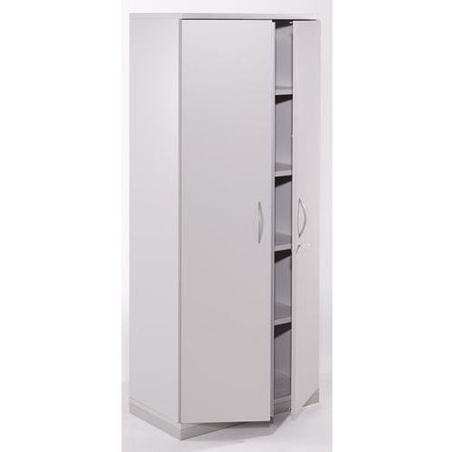 Fm büromöbel Thea - szafka z drzwiami skrzydłowymi, 4 półki, 5 wys. segregatora, jasnoszary.