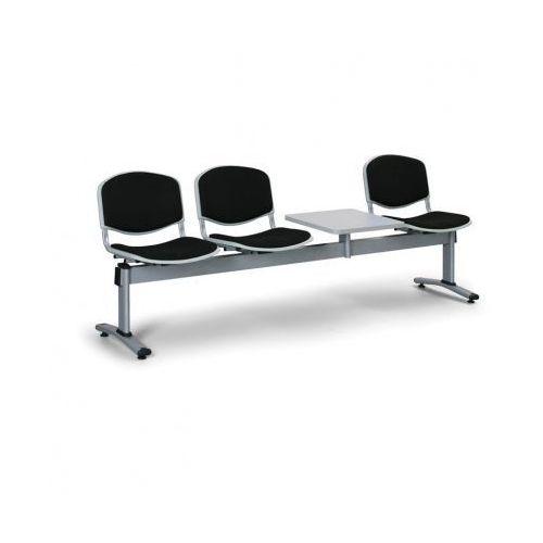 Ławka do poczekalni livorno, tapicerowana 3 siedzenia + stołek, czarny marki Euroseat