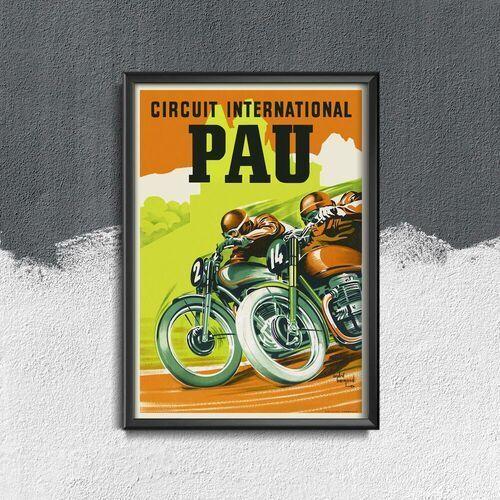 Vintageposteria.pl Plakat retro do salonu plakat retro do salonu międzynarodowy motocykl circu pau