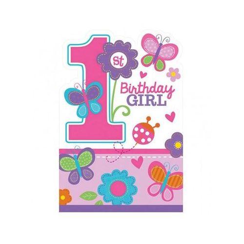 Zaproszenie na roczek dla dziewczynki Birthday Girl Motylki - 1 szt.