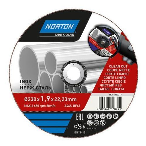 Tarcza korundowa Norton do cięcia inox 41-230 x 1 9 x 22 2 mm, 66252832217