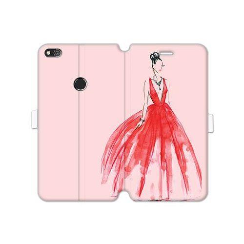 Huawei P8 Lite (2017) - etui na telefon Wallet Book Fantastic - czerwona suknia, kolor czerwony