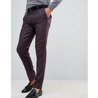 ASOS Skinny Smart Trousers In Burgundy 100% Merino Wool - Red, wełna