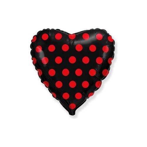 Balon foliowy serce czarne w grochy - 46 cm - 1 szt. (8435102302967)