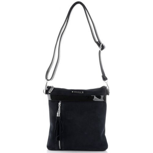 Eleganckie torebki damskie listonoszki firmy zamsz naturalny/skóra eko czarna (kolory) marki Silvia rosa