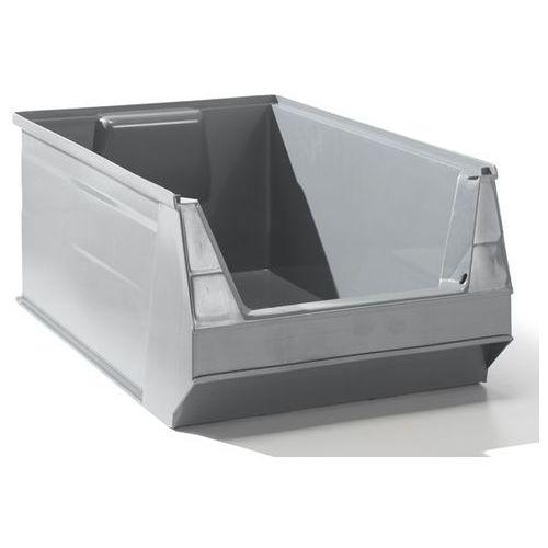 Przejrzysty pojemnik magazynowy z recyrkulowanego pe, poj. 23 l, szary, opak. 10 marki Lockweiler plastic werke