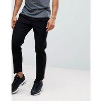ASOS Skinny Crop Smart Trousers In Black Waffle Texture With Silver Zips - Black, kolor czarny