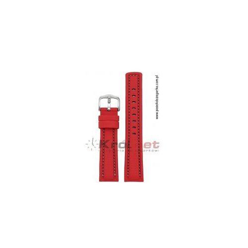 Pasek Hirsch Freestyle 24 mm - czerwony, szare przeszycia