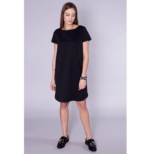 Czarna sukienka z dekoltem na plecach - Click Fashion, kolor czarny