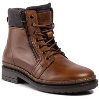Tommy hilfiger Trapery - textured leather mix boot fm0fm02418 cognac 606