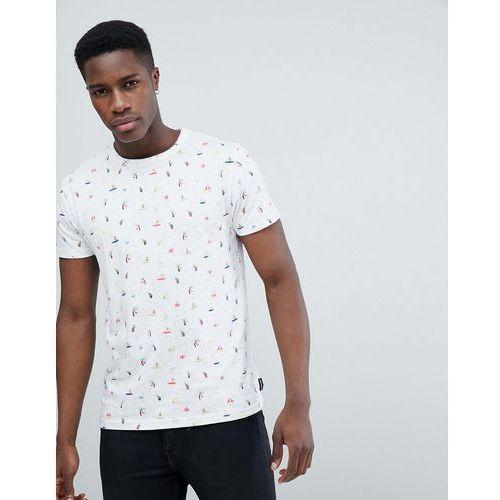 D-Struct Kitch Flourescent Print T-Shirt - White, kolor biały