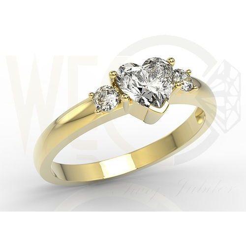 Pierścionek z żółtego złota z białym topazem w kształcie serca i diamentami JP-90Z, kolor biały