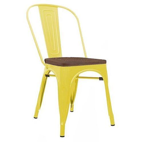 King home Krzesło metalowe, siedzisko drewniane tower wood żółte - sosna antyczna/metal