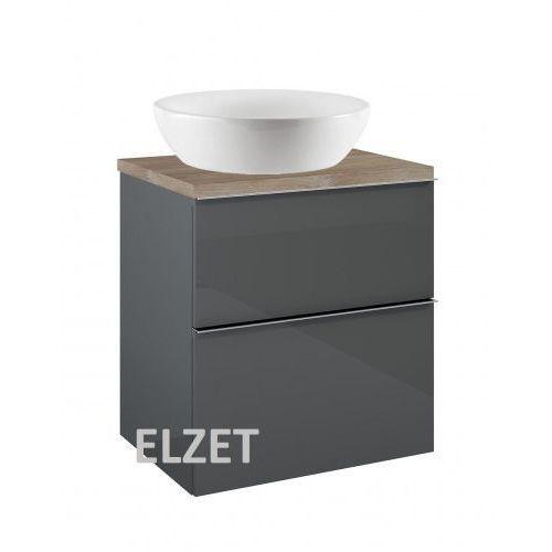 Elita szafka look 2s anthracite pod umywalkę nablatową + blat 60 dąb classic 167078+166897