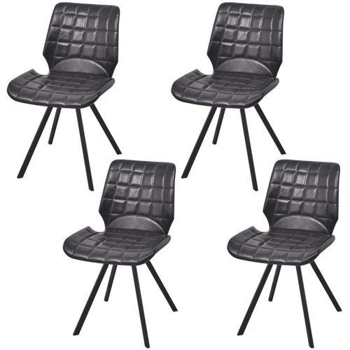 Krzesło do jadalni obite ekoskórą 4 szt, czarne, kolor czarny