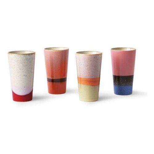 HKliving Zestaw 4 kubków ceramicznych 70's do latte ACE6911, ACE6911