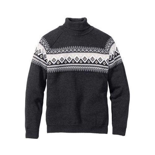 Sweter z golfem Regular Fit bonprix antracytowy melanż, kolor szary