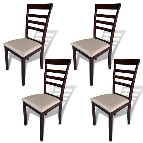 Krzesła do jadalni, 4 szt., drewniane, brązowo-kremowe