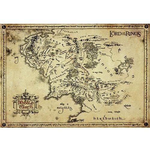 Gb Antyczna mapa na pergaminie - władca pierścieni lord of the rings - edycja kolekcjonerska - reprodukcja (5028486153398)