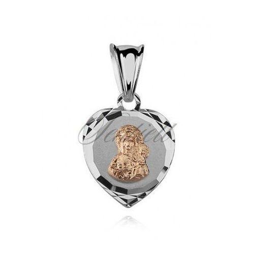 Srebrny medalik serce Matka Boska Częstochowska pozłacana - MD388G, MD388G
