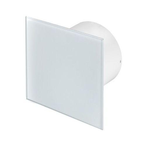 Cichy wentylator łazienkowy silent + wymienne panele czołowe różne funkcje: higro,timer model: włącznik pociągany, średnica: 125 mm, panel frontowy: białe szkło marki Awenta