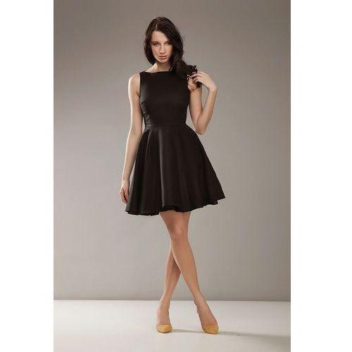 Nife Czarna elegancka sukienka bez rękawów