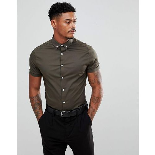 Asos skinny shirt in khaki with short sleeves and button down collar - black