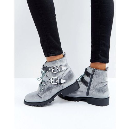 London rebel metal trim buckle biker boots - grey