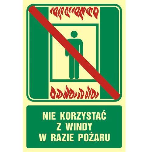 Zakaz korzystania z dźwigu osobowego w razie pożaru marki Top design