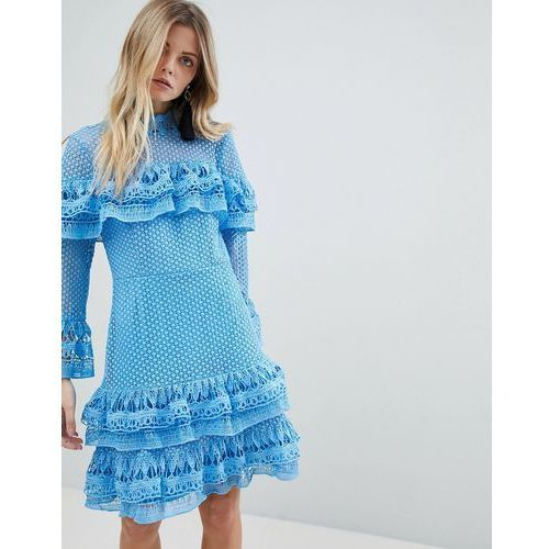 premium tiered mini skater dress in blue - blue, Y.a.s, 36-42