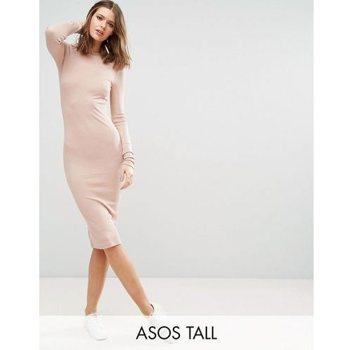ASOS TALL Midi Bodycon Dress in Rib with Long Sleeves - Pink